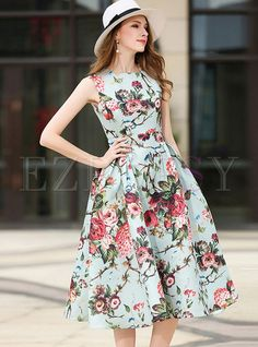 Shop for high quality Sweet Print O-neck Sleeveless Skater Dress online at cheap prices and discover fashion at Ezpopsy.com