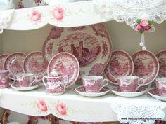 Red Transferware - Johnson Bros - Old Britain Castles in pink