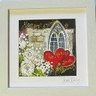 This image is the perfect gift to celebrate that special occasion ,the Church Window with the white roses evokes a sense of Romance .The couples name and the date of the wedding will be a wonderful keepsake.