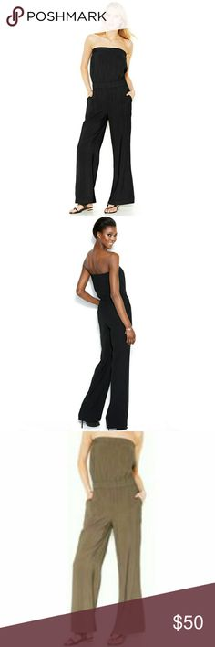 Women's 2 RACHEL Rachel Roy Strapless Jumpsuits This jumpsuit has side pockets Great for going our off vacation ,light flowy fabric. Can be dressed up or down .For the playful girl who likes to have fun with fashion, women's 'Rachel' by Rachel Roy jumpsuits are the easy choice. Roy's signature style of Rachel Roy encompasses a sophisticated  and always in high demand. The jumpsuits in a going out favorite. 2 for 60 Black new with tags! Olive is also available worn once**** Both for sale…
