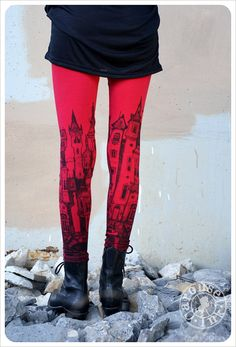 Items similar to Red Leggings - Printed Leggings - Womens leggings - Red Black - Legging on Etsy Red Leggings, Leggings Are Not Pants, Printed Leggings, Women's Leggings, Black Tights, Women's Tights, Textiles, Dress To Impress, Cute Outfits