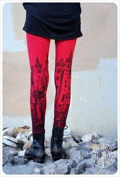Printed Red Leggings