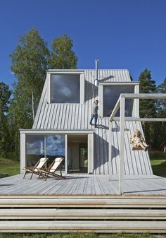 """Located in rural Sweden, Summer House in Dalarna is a triangular villa, designed by Leo Qvarsebo and described as """"a bit like a treehouse for adults"""". A Frame Cabin, A Frame House, Green Architecture, Architecture Design, Pavilion Architecture, Sustainable Architecture, Residential Architecture, Contemporary Architecture, Sweden House"""