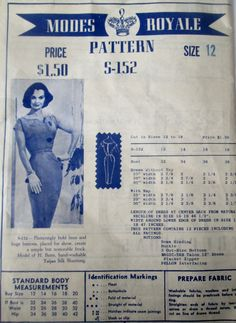 Modes Royale S-152 Sewing Pattern Women's 60s Dress Flattering with Bold Lines  Bust 32