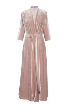 This **Luisa Beccaria** dress features three quarter length sleeves, a plunging neckline, and a self belt at the waist.