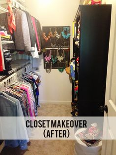 An organized closet, with dedicated spaces for dresses, sweaters, jeans, jackets, long-sleeved shirts, shoes, bags, and jewelry.  I particularly like her way of organizing and displaying so many statement necklaces!  | via Jillgg's good life (for less)