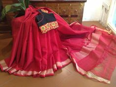 Lovely kumkum red with a contrast blouse. # Feeling festive
