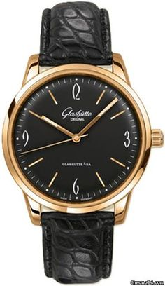 Glashütte Original Senator Sixties $11,440 #Glashütte #watch #chronograph #watches A domed Black dial.Rose gold hands arched to match the shape of the dial.