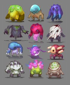 Cute and ugly creatures cartoon monsters, cute monsters, illustration, mons Character Design Cartoon, Character Design References, Character Design Inspiration, Game Concept Art, Character Concept, Character Art, Fantasy Sketch, Fantasy Art, Cartoon Monsters