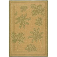 Safavieh Courtyard Collection CY6683-34 Natural and Green Area Rug, 6 feet 7 ...