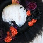 Tulle wreath (this one is Halloween) but you can change up the colors, flowers & trim for any occasion or holiday!