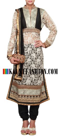Buy Online from the link below. We ship worldwide (Free Shipping over US$100)  http://www.kalkifashion.com/straight-fit-beige-suit-embellishedi-lucknowi-thread-work-only-on-kalki.html