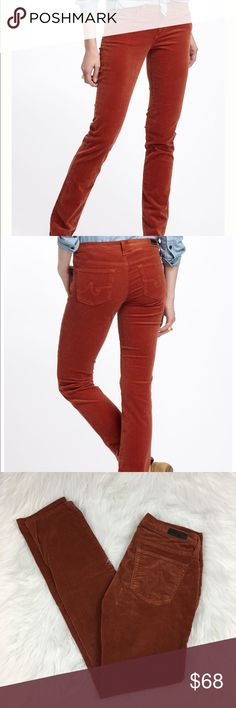 """AG Anthropologie Stevie Slim Straight Corduroy AG Anthropologie The Stevie slim straight corduroy in women's size 26.   Color: burnt orange Fabric: 98% cotton; 2%  Measurements approximate:  Waist: 14.5"""" Length: 38.5"""" Inseam: 31"""" Rise: 7""""  G24 Ag Adriano Goldschmied Pants Straight Leg"""