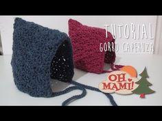 Gorro caperuza o capota tipo PIXIE a crochet para bebé ( 0 a 3 meses)