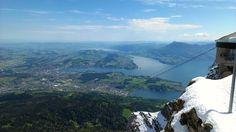 Atop Mt. Pilatus looking down upon Lucern, Switzerland.  Note the snow in June!