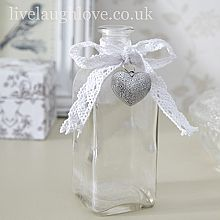 Clear Glass Botle with Silver Heart Bottle Candles, Diy Candles, Candle Jars, Vintage Bottles, Bottles And Jars, Glass Bottles, Glass Vase, Crafts To Do, Home Crafts