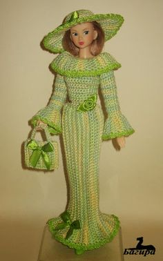 BEAUTIFUL Springtime Crochet Pattern Striking Dress for Barbie with oh so pretty hat and purse ! Barbie Crochet Gown, Crochet Barbie Clothes, Barbie Dress, Knitted Dolls, Crochet Dolls, Crochet For Kids, Crochet Baby, Barbie Paper Dolls, Glamour Dolls