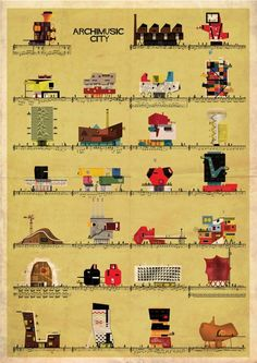Barcelona-based illustrator and architect Federico Babina has created Archimusic, a series of illustrations that imagine famous music artists as Architecture Drawings, Architecture Design, Architecture Graphics, Graphic Illustration, Illustrations, Famous Music Artists, Famous Musicians, Historia Do Rock, Humor Grafico
