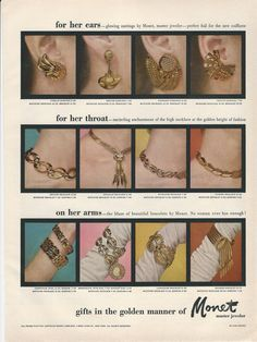 1955 MONET Golden Fancy Drop Chain Earrings Necklaces Bracelets 4 types of each shown in Vintage Costume Jewelry Photo Print Advertisement