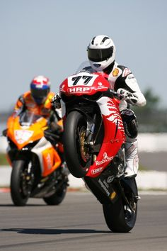 Michael Schumacher, 7-time Formula1 champion turned motorcycle racer, tests an SR1 prototype on the track