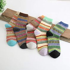 61dbd699408e6e Pack of 5 Womens Vintage Style Cotton Knitting Wool Warm Winter Fall Crew  Socks, Mixed