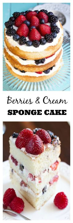 Berries and Cream Sponge Cake makes an impressive dessert perfect for celebrating Easter, a birthday, shower or any special occasion