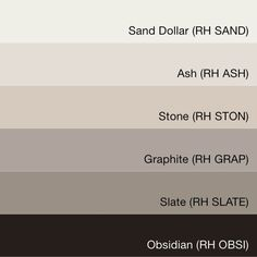 Bedroom color palette - Swatchdeck Restoration Hardware Quot Slate Collection Quot Stone For The