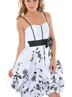 Elegant Spaghetti Strap Neck Short Length White Flower Printed Sash Achieved Home Gown