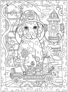 Coloring Pages: Be Dazzled with these cute Dog and five more handsome Dogs......from the Coloring Book: Creative Haven Dazzling Dogs Coloring Book. Try these or buy the book at my favorite Publisher Dover Publications!:
