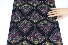 Black and Purple Paisley Printed Peach Skin Knit by felinusfabrics