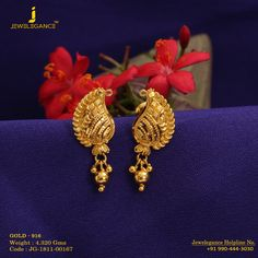 Gold 916 Premium Design Get in touch with us on 24k Gold Jewelry, Gold Jewelry Simple, Gold Jewellery Design, Simple Earrings, Gold Earrings Designs, Necklace Designs, Jewelry Patterns, Plaster, Mehndi