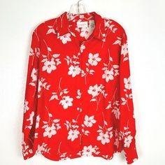 Liz Claiborne Tops | Liz Claiborne Red Floral Button Down Shirt M | Poshmark Button Downs, Button Down Shirt, Red Button, Liz Claiborne, Blossoms, Colorful Shirts, Floral Tops, Stripes, Buttons