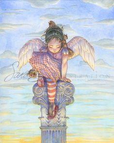 Angel Art Print - Little Angel of Love with Squirrels and Chipmunks