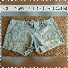 """Old Navy Diva shorts! Old navy diva style cut off jean shorts! Frayed edge, 3"""" inseam, light wash! Size 12. Like new condition, passing them on as I've grown out of them. I've always been a size bigger in shorts than jeans, so I wore these when I was a size 10 in old navy jeans. Old Navy Shorts Jean Shorts"""