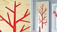 Natural wood surrounds a tree profile in bold color for wall art you can make in a weekend.