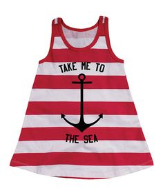 Look what I found on #zulily! Red & White Stripe 'Take Me to the Sea' Dress - Toddler & Girls #zulilyfinds