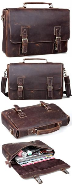 "Men's Handmade Vintage Leather Briefcase / Leather Messenger Bag / 13"" 15"" MacBook or 14"" 15"" Laptop Bag - n14 - Thumbnail 4"