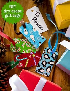 Duck Tape crafts: dry erase holiday gift tags - Mod Podge Rocks - I need to find this duct Tape Dry Erase Adhesive Laminate! Holiday Gift Tags, Diy Christmas Gifts, Holiday Crafts, Holiday Fun, Fun Crafts, Christmas Ideas, Holiday Ideas, Winter Holiday, Christmas Decor