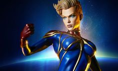Marvel Captain Marvel Premium Format(TM) Figure by Sideshow Marvel Fan, Captain Marvel, Marvel Comics, Marvel Cosplay, Fighter Pilot, Sideshow Collectibles, Guardians Of The Galaxy, Comic Art, Iron Man