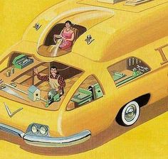 Retro-Futuristic, While mom drives, dad makes bird houses? Cyberpunk, Comics Illustration, World Of Tomorrow, Futuristic Design, Futuristic Cars, Atomic Age, Science Fiction Art, Sci Fi Art, Mellow Yellow