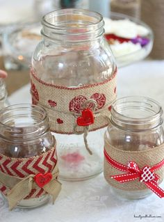 Such a fun idea for any love themed event - DIY mason jars (With just a few changes, this could make a great gift! Valentine Day Crafts, Valentine Decorations, Holiday Crafts, Mason Jars, Mason Jar Gifts, Burlap Crafts, Jar Crafts, Mason Jar Projects, Ball Jars