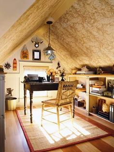 Attic office. Add more square footage to your home and get a very private space by adding a cozy office to your house. Get this look w/ a remodel at www.blake-construction.com.