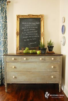 really love this dresser. stained wood top, painted body, smaller top drawers and deep bottom ones.