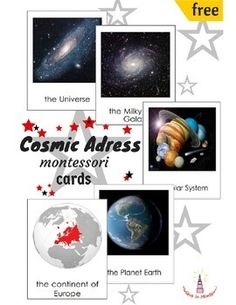 ~~ Montessori My Cosmic Address Cards ~~This material will help child to learn his cosmic address and his place in space. He will learn his position from the Universe to his house. It supports Montessori principle of learning from general to specific, from big to small.A detailed description of using is included.