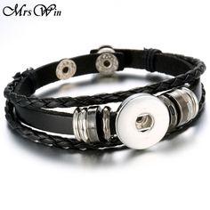 Hot Sale 18MM Snap Button Bracelets For Women Men Black Leather Bracelet Ginger Snaps Jewelry Buttons Bracelet -- Uznayte bol'she, posetiv ssylku na izobrazheniye.