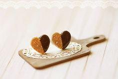 Miniature Food Jewelry - Food Earrings - Heart Cookies Earrings
