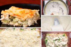 Lasagnes brocolis et poulet à la sauce alfredo