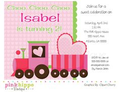 Pink Train Girl Birthday Party Invitation-DIY PRINTABLE Digital Invitation. $13.00, via Etsy.