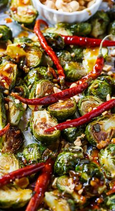 Steal the show with these flavor-packed sweet heat Kung Pao Brussels Sprouts via Spicy Southern Kitchen!