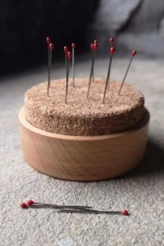 Plain & simple. Made from solid oak with a cork topping. #BeyondMeasure #sewing #tools #wooden Pins And Needles, Sewing Tools, Pincushions, Solid Oak, Cork, Simple, Corks